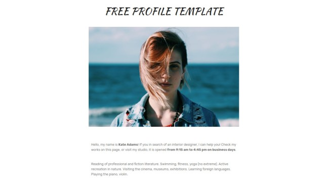 Free Profile Template